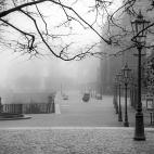 Brühlsche Terrasse Dresden im Nebel